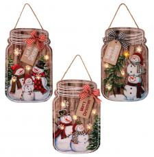 3 Asst Wooden Christmas Snowman Mason Jar Ornament w/LED Lig