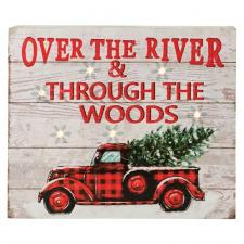 Wooden OVER THE RIVER Sign w/Truck & LED Light