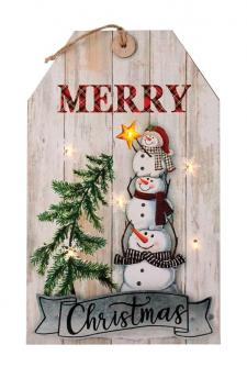Wooden MERRY CHRISTMAS Tag Hanger w/LED Light