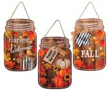 3 Asst Fall/Harvest Mason Jar Ornament w/LED Light