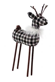 Med Black/White Plaid Reindeer