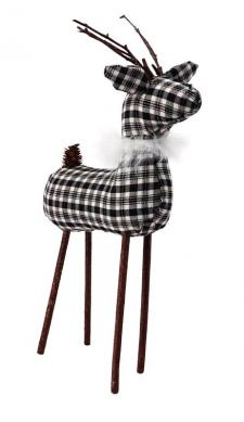 Lg Black/White Plaid Reindeer