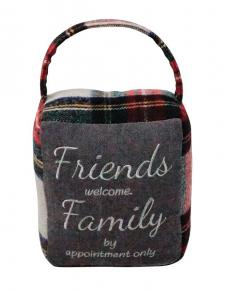 Red/Grey Plaid FRIENDS/FAMILY Doorstop