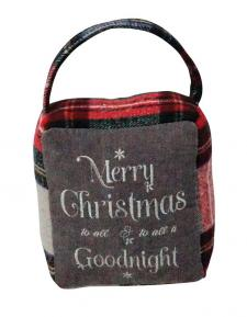 Red/Grey Plaid MERRY CHRISTMAS/GOODNIGHT Doorstop