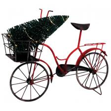 Lg Metal Bike w/Tree in Basked & LED Light - SPECIAL BUY! Or
