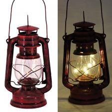Sm Dk Red Metal Lantern w/LED Light  - SPECIAL BUY! Original
