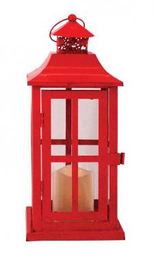 Square Red Metal Lantern w/LED Candle - SPECIAL BUY! Origina