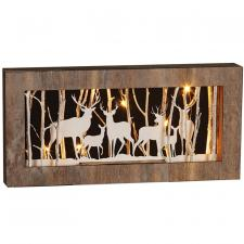 Lg White Wash Deer Frame w/Twig & LED Timer Light - SPECIAL
