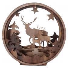 Round Cut Out Deer Scene w/LED Timer Light - SPECIAL BUY! Or