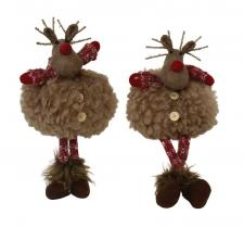 Dangle Leg Plush Fluffy Deer w/LED Light Antlers