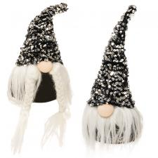 2 Asstd Mr & Mrs Santa Gnome with Black & Silver Hat