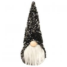 Large Santa Gnome with Black & Silver Hat