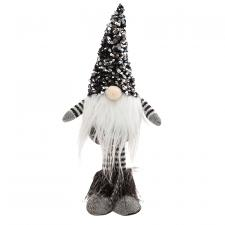 Small Standing Santa Gnome with Black & Silver Hat
