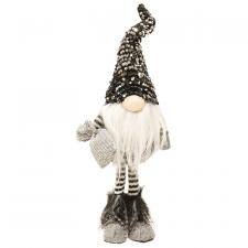 Large Standing Santa Gnome with Black & Silver Hat