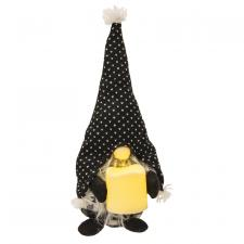 Standing Gray Beard Gnome with Spotted Hat & Candle